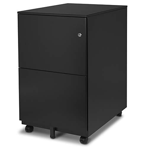 Aurora FC-102BK Modern Soho Design 2-Drawer Metal Mobile File Cabinet with Lock Key/Fully Assembled, Black