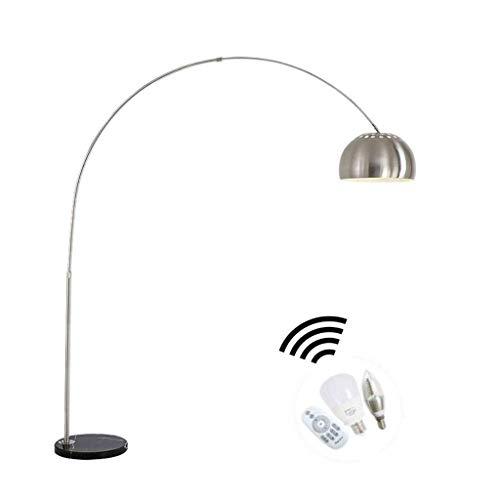 WJLL Lampada da Terra con Telecomando, Lampada a Stelo a LED dimmerabile, Metallo Nichel Opaco Base in Marmo Nero 170-200cm Testa Lampada Estensibile Regolabile Lampada da Pavimento