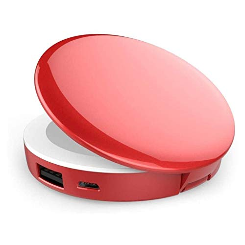 Lcxghs Energien-Bank Handmini-Runde geführter Spiegel-1X / 3X Vergrößerungs Beleuchtetes, bewegliche LED kompakte Reise-Verfassungs-Spiegel for Gebühren iPhones/iPads/Android (Color : Red)