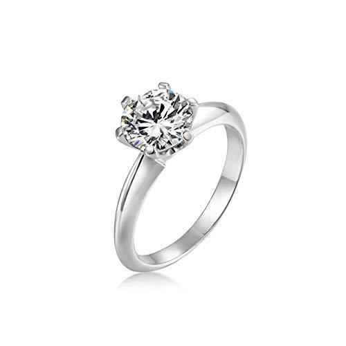 Bishilin Ring Silber 925 für Damen 4-Steg-Krappenfassung Rund Zirkonia Verlobung Ringe Ehering Silber Gr.58 (18.5)