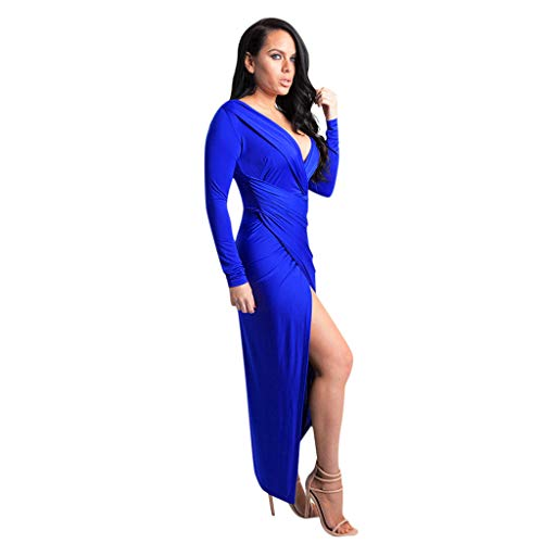 Fantastic Deal! Witspace Women's Deep V-Neck Long Sleeve Front Split Casual Women's Dress