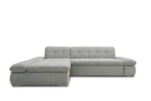 Domo Collection Ecksofa Moric / Eckcouch mit Bett / Sofa mit Schlaffunktion in L-Form Couch mit Armlehnfunktion/ 300x172x80 cm / Schlafsofa in hellgrau