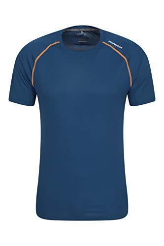 Mountain Warehouse Aero II Camiseta de Manga Corta para Hombre - Camiseta, Ligera, Transpirable - para Gimnasio, Deporte, Exterior Azul Marino XXS