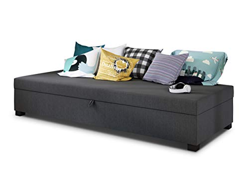 Einzelbett Misti - Sofa mit Bettkasten, Schlafsofa, Bettsofa, Farbauswahl, Bettgestell, Komfortbett, Bett für Jugendzimmer, Schlafmöbel (Graphit (Lux 06))