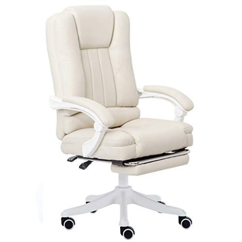 Bürostuhl Lehnstuhl Stühle, Executive-Computer-Esports Spiel Stuhl Ergonomischer Mit Rückenlehne Und Fußbank for Home Study (Color : Beige)