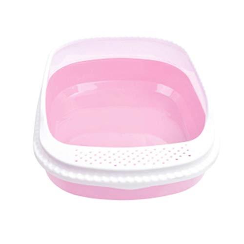Yfdmbk Caja De Arena De Gato De Pino Grande Semicerrado Shovel Gato Inodoro Suministros para Mascotas Cómodos (Color : Pink)