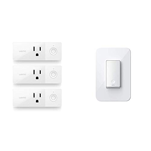 Wemo Mini Smart Plug Bundle with Wemo Wi-Fi Light Switch, 3-Way - Control Lighting from Anywhere, Easy in-Wall Installation, Works with Alexa, Google Assistant and Apple HomeKit (WLS0403)