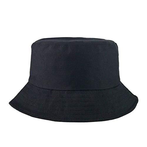MUCHEN SHOP Sombrero de Pescador,Cappello da Pesca en Cotton & Polyester Fabric Sombrero de Sol Sombrero de Cubo para Niño Niña Unisex Camping Senderismo Pesca Caza 52-54cm Negro