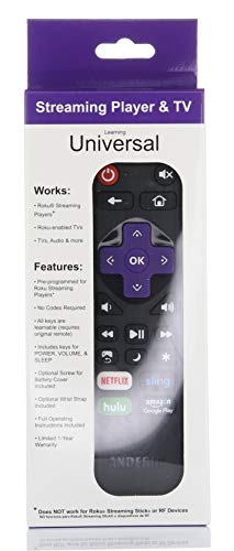 Anderic Universal IR Compatible with Roku Express Roku SE Remote with Volume Roku/TV Streaming 2-in-1 Remote Control with Learning - Works for Roku + TV [NOT for ROKU Sticks] (1-Pack)
