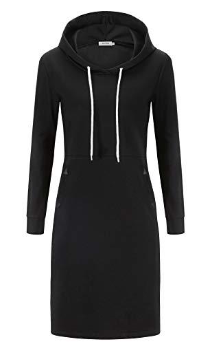 Kormei Damen Langarm Hoodie Bodycon Stretch Sweatshirt Midi Kleider mit 2 Taschen Schwarz M