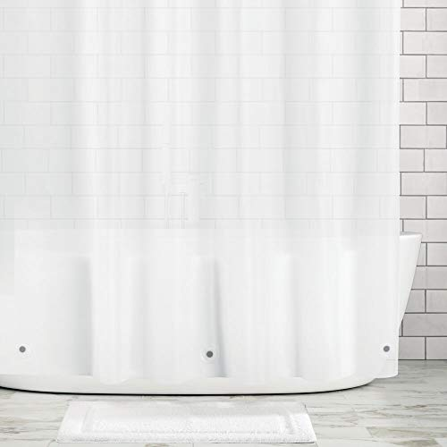 """mDesign Long Waterproof, Heavy Duty Premium Quality 10-Guage Vinyl Shower Curtain Liner for Bathroom Shower Stall and Bathtub - 72"""" x 84"""" - Clear Frost"""