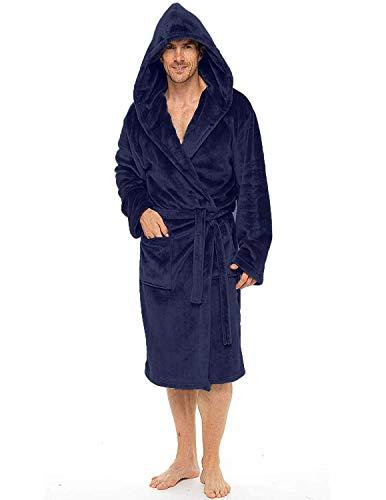 CityComfort Albornoz Hombre con Capucha Suave Bata (M/L, Azul marino con capucha)