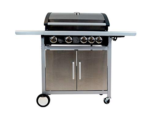 Traedgard® Gasgrill Grillwagen BBQ Indio 500 Edel | 4 Brenner + 1 Seitenbrenner Edelstahl | Gusseiserne Grillroste | Thermometer | Zubehör