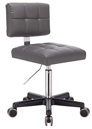 1stuff® Rollhocker mit Lehne LEHNO - Sitzhöhe bis ca. 67cm - bis 150kg - PU-Rollen - Drehhocker Praxishocker Arbeitshocker Arzthocker Kosmetikhocker Bürohocker Bürostuhl (grau)