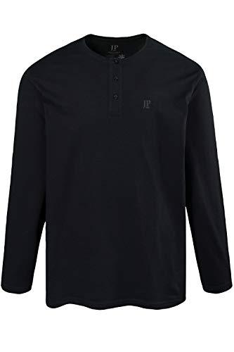 JP 1880 Herren große Größen Shirt, Henley, Langarm, Knopfleiste schwarz 4XL 702555 10-4XL