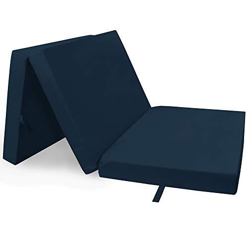 PROHEIM Klappmatratze Compact 190 x 60 x 7 cm komfortable Faltmatratze/Gästematratze mit Microfaserbezug bequemes Notbett/Gästebett, Farbe:Dunkelblau