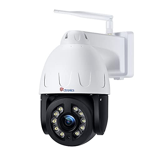 5MP PTZ Security Camera Outdoor with 4X Optical Zoom, Ctronics WiFi IP Dome Surveillance Camera with 355°Pan 90°Tilt, Human Detection, Auto-Tracking, 165FT Color Night Vision, 2-Way Audio, IP66