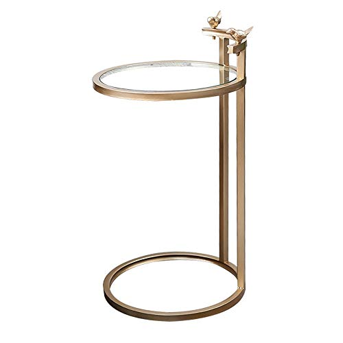 Table XIAOYAN Plateau de téléviseur latéral en Verre et Base en métal doré, en Forme de C, doré/Noir 15.75\