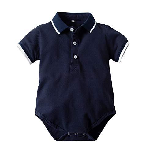yuyuanDO Polo Bébé Garçons Manches Courtes Barboteuses Gentleman Body Polo Enfant 3 6 9 12 18 24 Mois Vetement Bebe Ete Cadeaux Bebe Pas Cher (100(18-24mois), A)