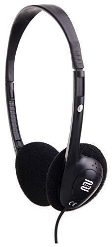 Pronomic KH-10BK HiFi lichte hoofdtelefoon (slechts 50 g gewicht, verstelbare hoofdband, ideaal voor MP3-speler, TV, E-Piano, E-Drum, Fieldrecorder & reis) zwart