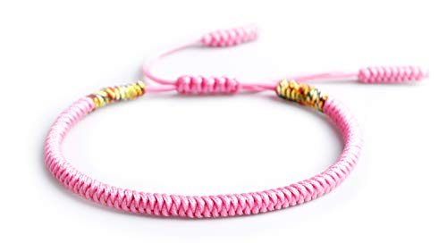 Mister Boncuks Get Lucky Knoten Armband - Tibetische Buddha Handarbeit Glücksbringer Knoten Armband - Yoga Sport - Meditation - Glück - Liebe - Geschenk - Mode - Trend (Pink)