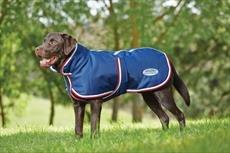 Weatherbeeta, cappottino per cane con cintura addominale, taglia media, 1200D, Navy/ Red/ White, 60 cm