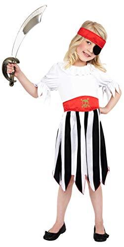 Smiffys Costume de fille pirate, Noir et Blanc, avec robe et bandeau