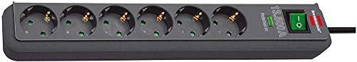 Brennenstuhl Eco-Line regleta de enchufes con 6 tomas de corriente y protección contra sobretensiones (cable de 1.5 m, interruptor iluminado, protección sobretensión hasta 13.500A) antracita