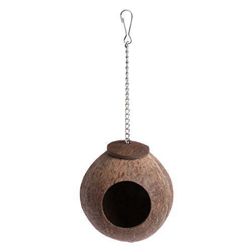 AERVEAL Hangmattennest, natuurlijke kokosnootschaal, vogelnest, huishuishok, kooi, feeder, speelgoed voor papegaai, papegaai, golfkiet, nimfensittich Conure