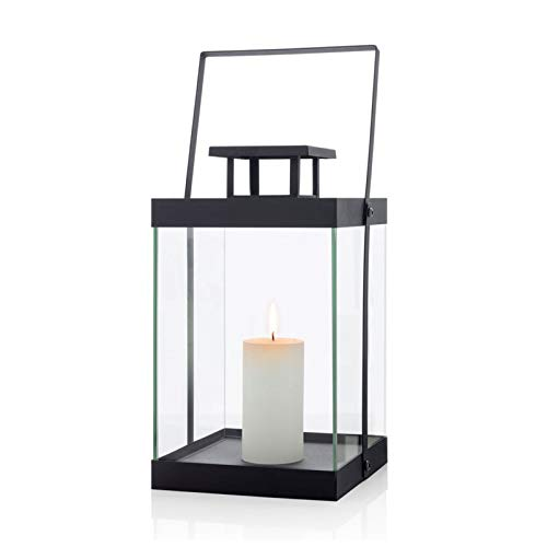 blomus Laterne, ohne Kerze, M, Metall, schwarz, 21.5 x 21.5 x 36.5 cm