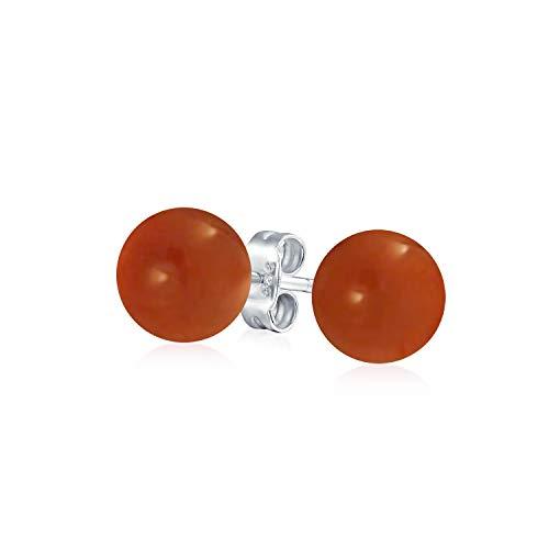 Simple Teñidas De Rojo Coral Natural Bola Pendiente De Boton Redondo Para Mujer 925 Plata De Ley 925 8Mm