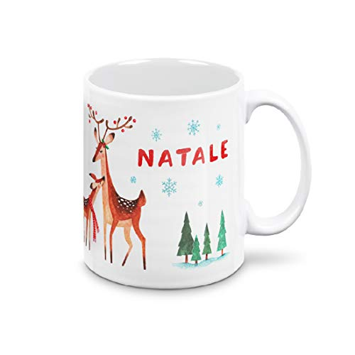mugnue Taza de Navidad – Feliz Navidad con mamá y bebé reno, regalos de Navidad económicos – Tazas de desayuno – con caja blanca (Feliz Navidad con mamá y bebé Reno)