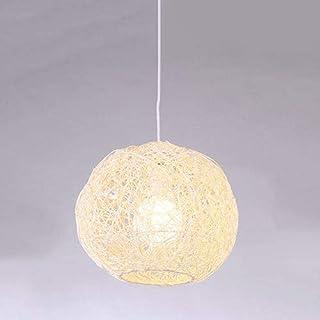 HJW Lampe Pendante En Rotin Simple Boule de Chanvre E27 Avec Fil Réglable Semi-Encastré Au Plafond Luminaire Suspendu Pour...