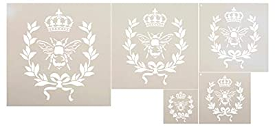French Bee 5- Piece Stencil Set by StudioR12 | Crown, Laurel Wreath, Bee, Shabby Chic Country - Reusable- Chalk Acrylic Paint- Furniture Wood Signs Pillows Fabric Home Wall Decor DIY Mixed Media