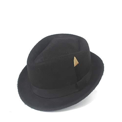 YUXINXIN Hipster 2019 Fedora Hoed Vilt Wol Black Feather Hat Heren Dames Panama Jazz Hoed Gangster Hoed (Color : Black, Size : 56-58cm)