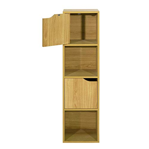 HOMEMAKE FURNITURE Librería de estilo moderno simple, cuatro almacenes, dos puertas, se puede utilizar para el almacenamiento en armarios de la sala de estar, estanterías de estudio, cocinas, baños, etc HAYA