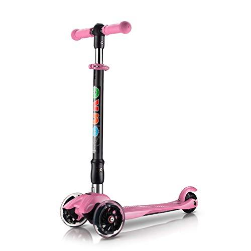 Patinetes Scooters para niños de 1 a 6 años de Edad, Scooters Luminosos con Cubierta Extra no Flexible, para niños pequeños (Color : Pink)