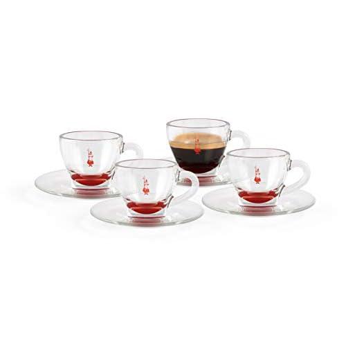 Bialetti DCRAST0009 Set 4 Tazzine (con Piattino), Vetro Rosso