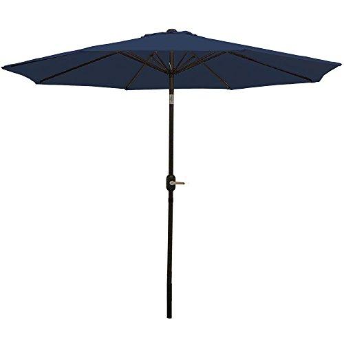 Sunnydaze 9 Foot Outdoor Patio Umbrella - Push-Button Tilt & Crank Patio Table Umbrella - Aluminum Pole & Polyester Shade Canopy - Navy Blue