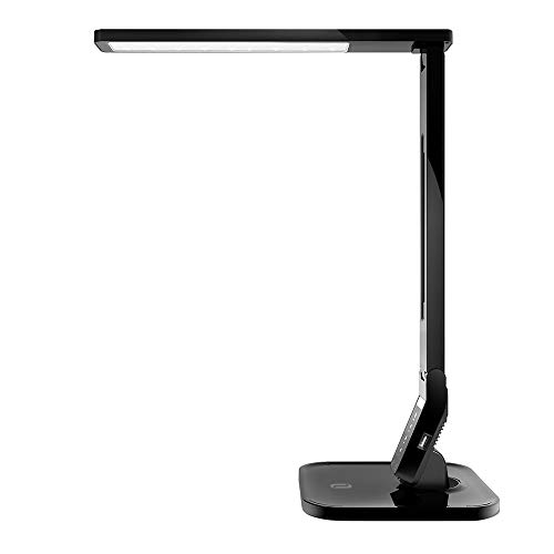 TaoTronics - Lámpara de escritorio LED, lámpara de mesa de 14 W, 5 niveles regulables, 4 modos, panel de control sensible, puerto de carga USB para iPhone, iPad, Smartphone, Tablet Android, negro