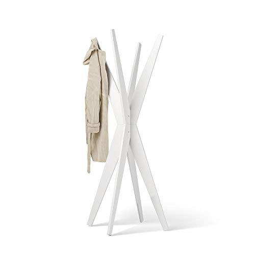 Mobili Fiver, Appendiabiti da Terra di Design, Emma Bianco Frassino, 80 x 80 x 170,5 cm, Nobilitato, Made in Italy, Disponibile in Vari Colori