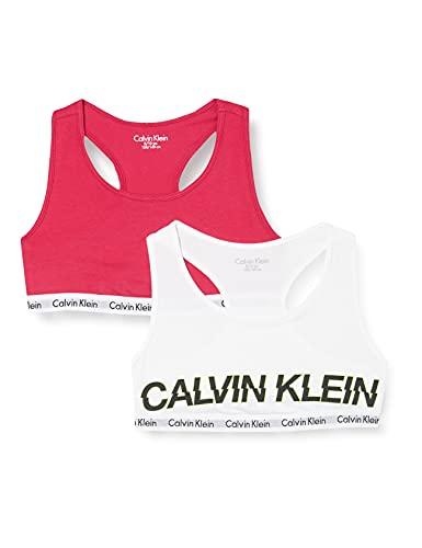 Calvin Klein 2pk Bralette lot de 2, fille - Blanc (1White/1Cerise 0Q0) - 8-10 ans
