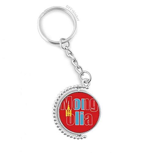 DIYthinker Mannen Mongolië Land Vlag Naam Draaibare Sleutelhanger Ring Sleutelhouder 1,2 inch x 3,5 inch Multi kleuren
