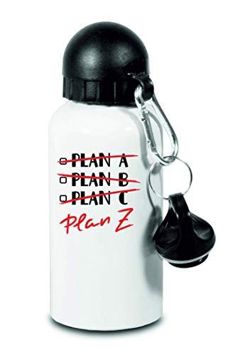 Druckerlebnis24 Trinkflasche - Plan Z Motivation Zitat - Für Kinder, Schule, Sport, Fitness - Schlanke Wasserflasche aus Aluminium