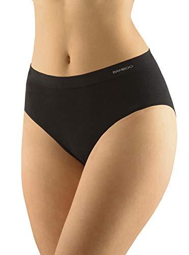 Nahtlose Damen Slip aus Bambus, Einfarbige Frauen Unterwäsche (M/L, Schwarz)
