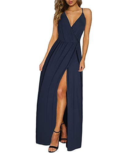 II ININ Women's Deep V-Neck Casual Dress Summer Backless Floral Print/Solid Split Maxi Dress for Beach Party(Navy,S)