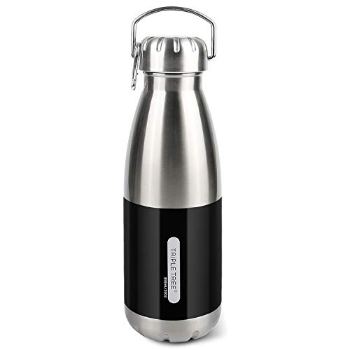 HOMVAN Botella de Agua de Acero Inoxidable, Botella Reutilizable Termo para Camping, Viajes, Gimnasio, Deportes, Fitness, Trabajo, té, café, Vino (850ml-Negro)