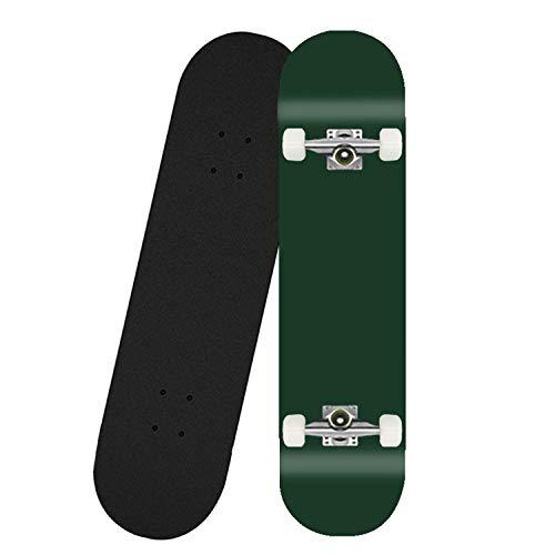 HMAKGG Completo Skateboard 80 * 20CM 7 Capas Monopatín De Madera De Arce Skateboards con Rodamientos ABEC-7, Skateboard con 4 PU Ruedas,Verde