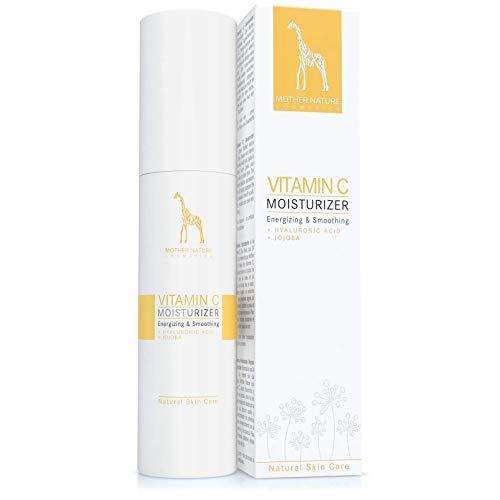 Vitamin C Creme mit Jojoba Öl, Vitamin E und Hyaluronsäure - NATURKOSMETIK VEGAN - 50ml - leichte Anti-Aging-Tagescreme gegen Falten und Pickelmale, revitalisierend