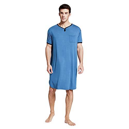 7 VEILS Men's Nightshirt Nightwear Comfy Big&Tall Short Sleeve Henley Sleep Shirt (B-Blue, XXL)